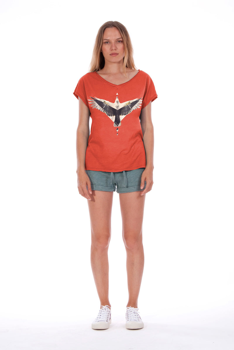 Raven - V Neck - Loose Fit - Top - Colour Red and sunset mini shorts - Colour Green -1
