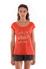 Girls just wanna - Round Neck - Cut Off - Top -Colour Terracotta and sunset mini shorts anthracite 2