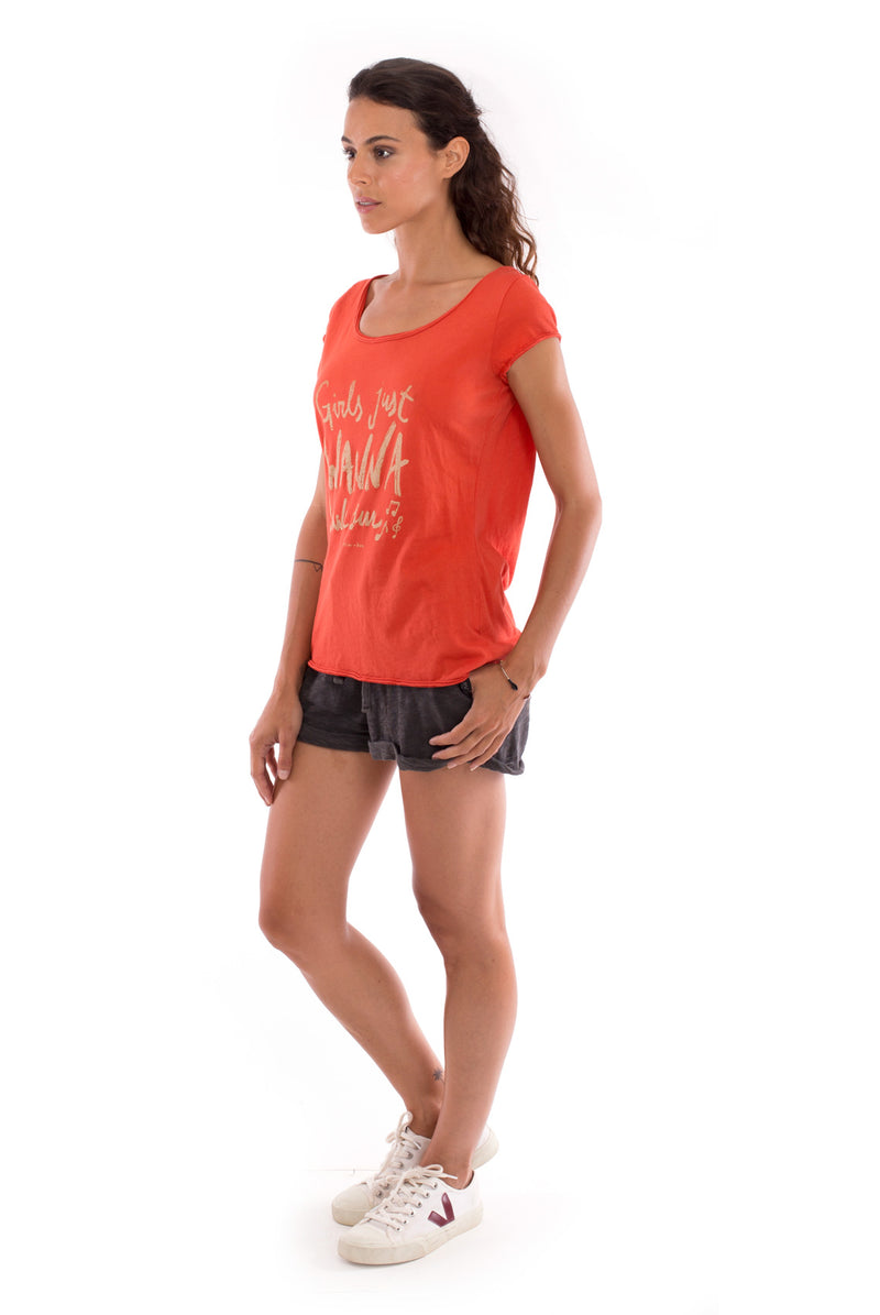 Girls just wanna - Round Neck - Cut Off - Top -Colour Terracotta and sunset mini shorts anthracite 3