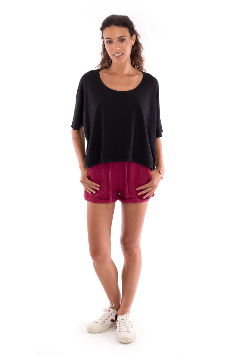 Square Top - Colour Black and Sunset Mini Shorts Colour Garnet-1