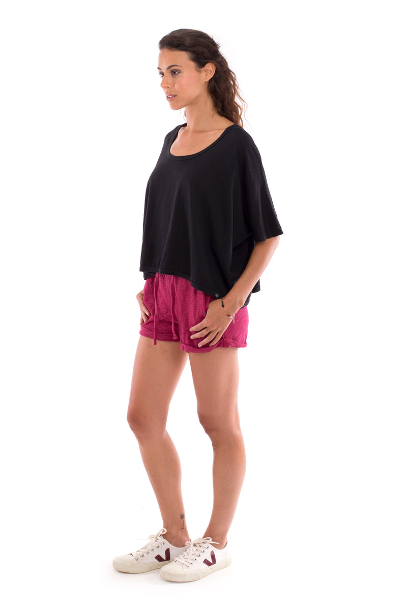 Square Top - Colour Black and Sunset Mini Shorts Colour Garnet 4