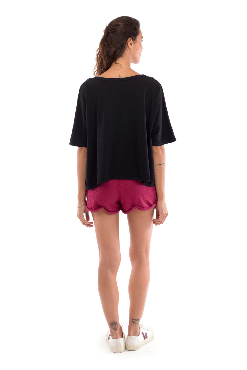 Square Top - Colour Black and Sunset Mini Shorts Colour Garnet 3