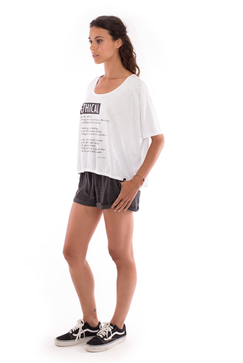Ethical - Round Neck - Loose Fit - Top and sunset mini shorts - Colour Anthracite - 3