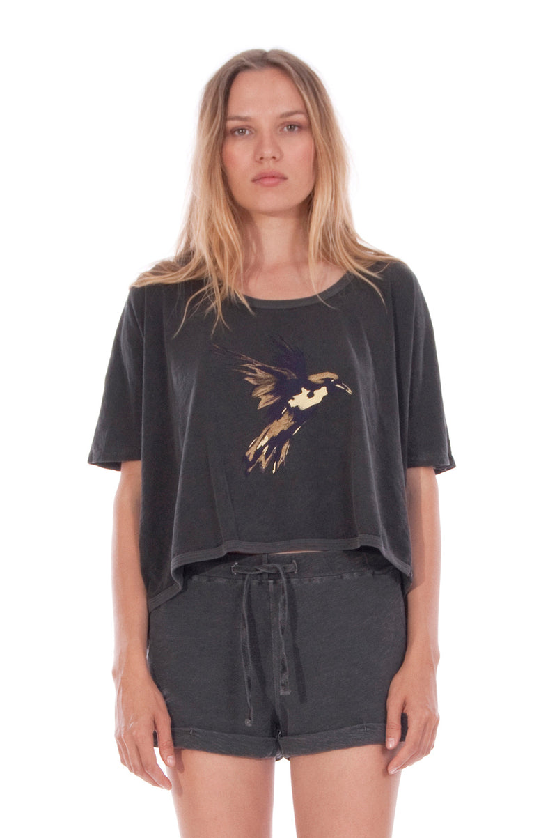 Gold Raven - Round Neck - Wide - Loose Fit - Top - Colour Anthracite and sunset mini shorts - Colour Anthracite - 2
