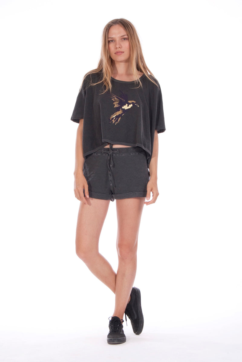 Gold Raven - Round Neck - Wide - Loose Fit - Top - Colour Anthracite and sunset mini shorts - Colour Anthracite - 1