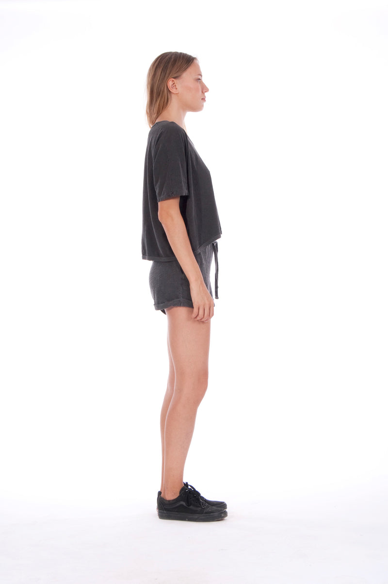 Gold Raven - Round Neck - Wide - Loose Fit - Top - Colour Anthracite and sunset mini shorts - Colour Anthracite - 3