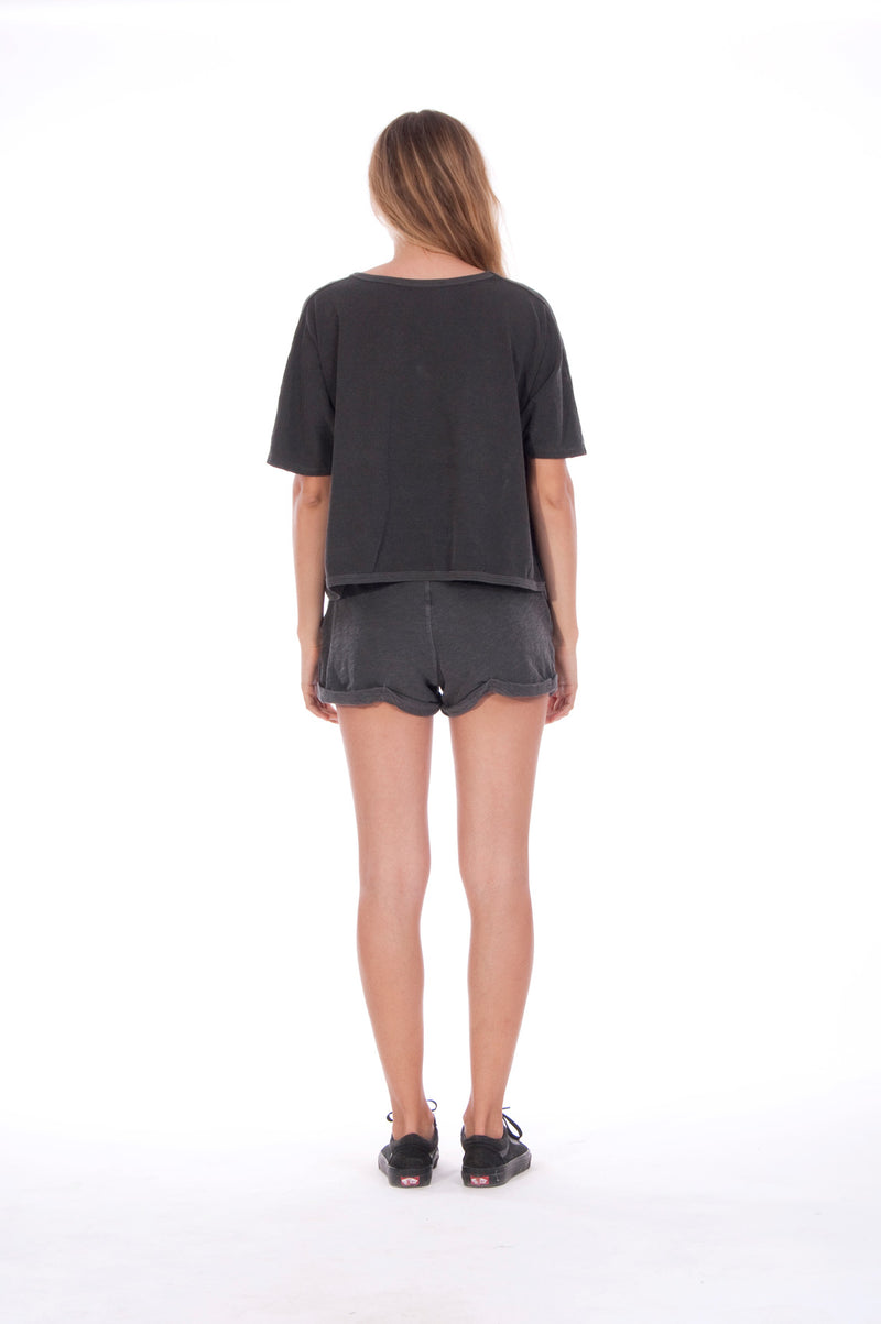 Gold Raven - Round Neck - Wide - Loose Fit - Top - Colour Anthracite and sunset mini shorts - Colour Anthracite - 4