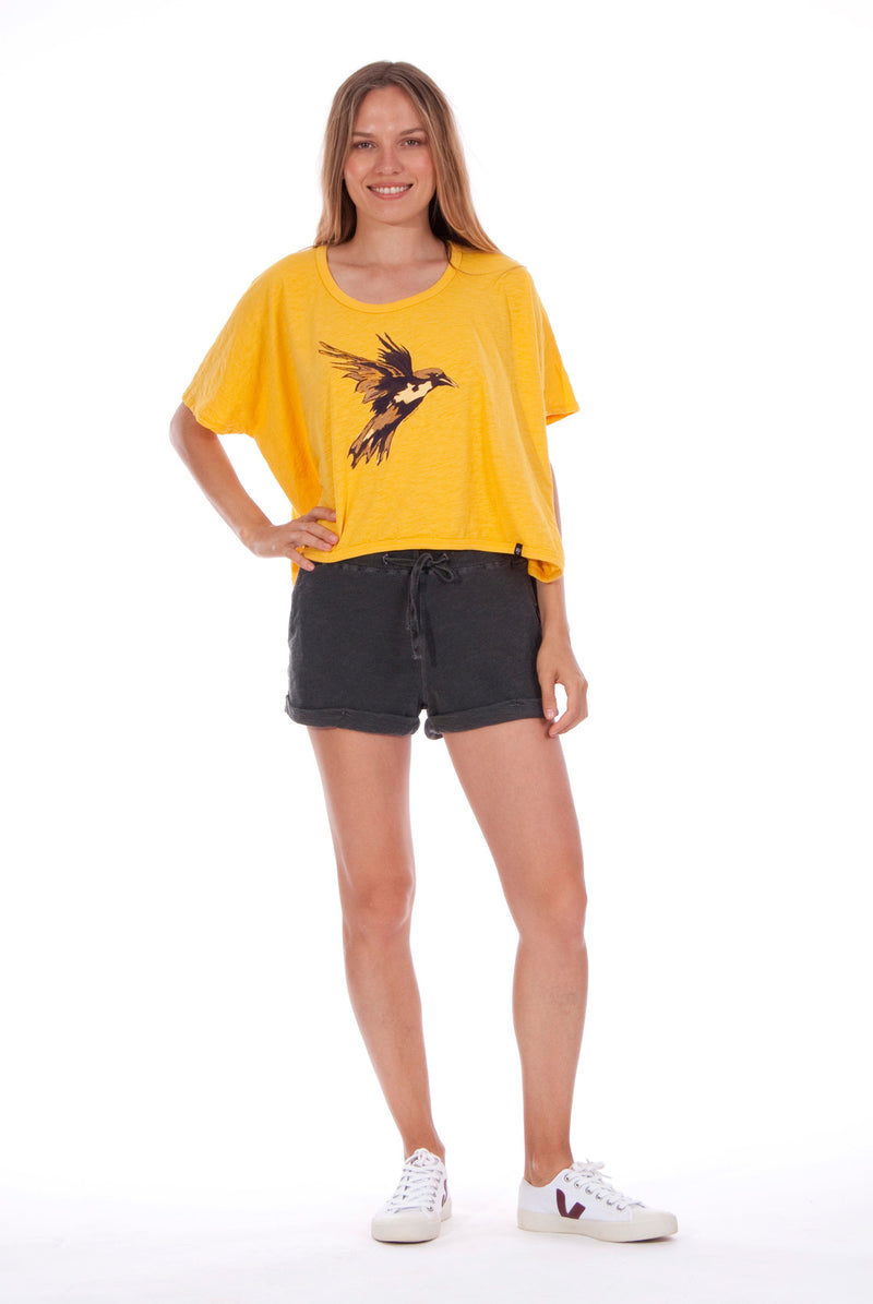Gold Raven - Round Neck - Wide - Loose Fit - Top - Colour Yellow and sunset mini shorts - Colour Anthracite - 1