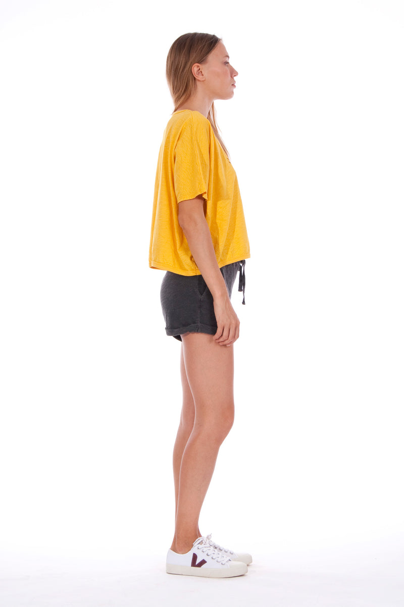 Gold Raven - Round Neck - Wide - Loose Fit - Top - Colour Yellow and sunset mini shorts - Colour Anthracite - 3