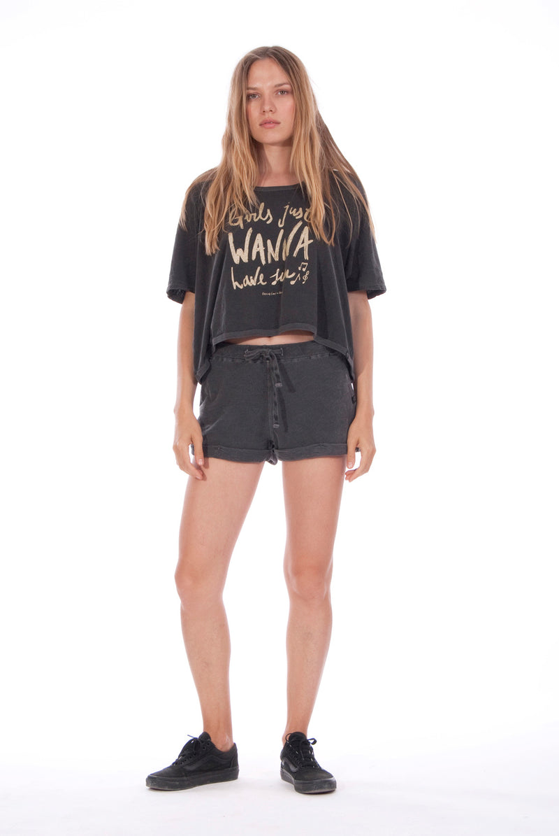 Girls just wanna- Round Neck - Wide - Loose Fit - Top - Colour Anthracite and sunset mini shorts - Colour Anthracite - 1