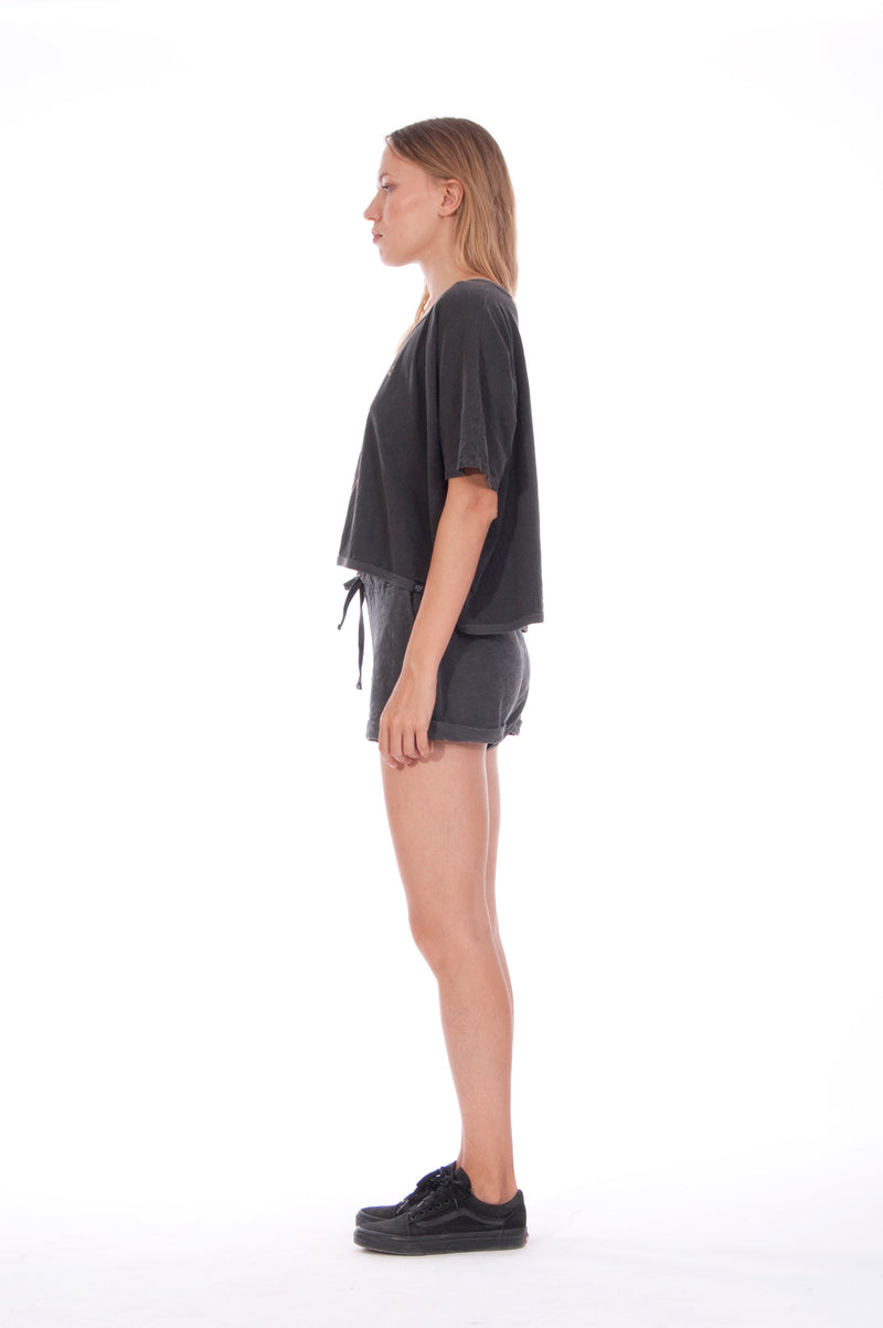 Girls just wanna- Round Neck - Wide - Loose Fit - Top - Colour Anthracite and sunset mini shorts - Colour Anthracite - 3