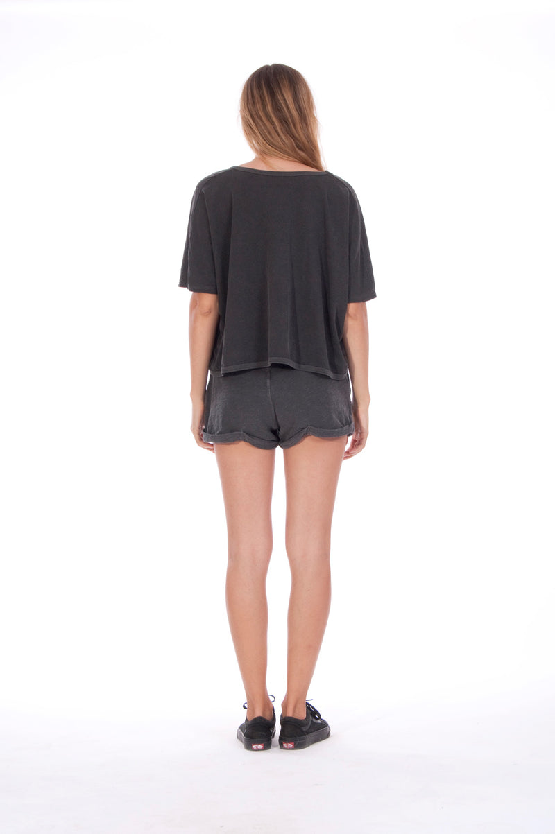Girls just wanna- Round Neck - Wide - Loose Fit - Top - Colour Anthracite and sunset mini shorts - Colour Anthracite - 4