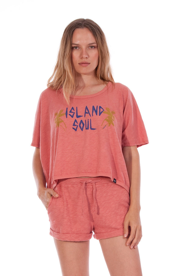 Island Soul - Round Neck - Wide - Loose Fit - Top - Colour Clay and sunset mini shorts - Colour Clay - 2