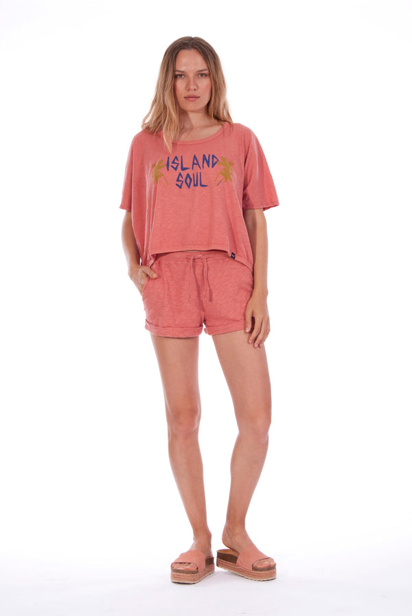 Island Soul - Round Neck - Wide - Loose Fit - Top - Colour Clay and sunset mini shorts - Colour Clay - 1