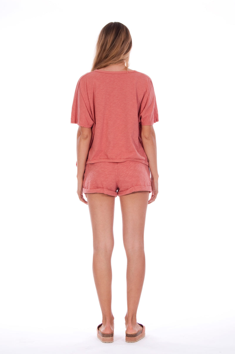 Island Soul - Round Neck - Wide - Loose Fit - Top - Colour Clay and sunset mini shorts - Colour Clay - 4