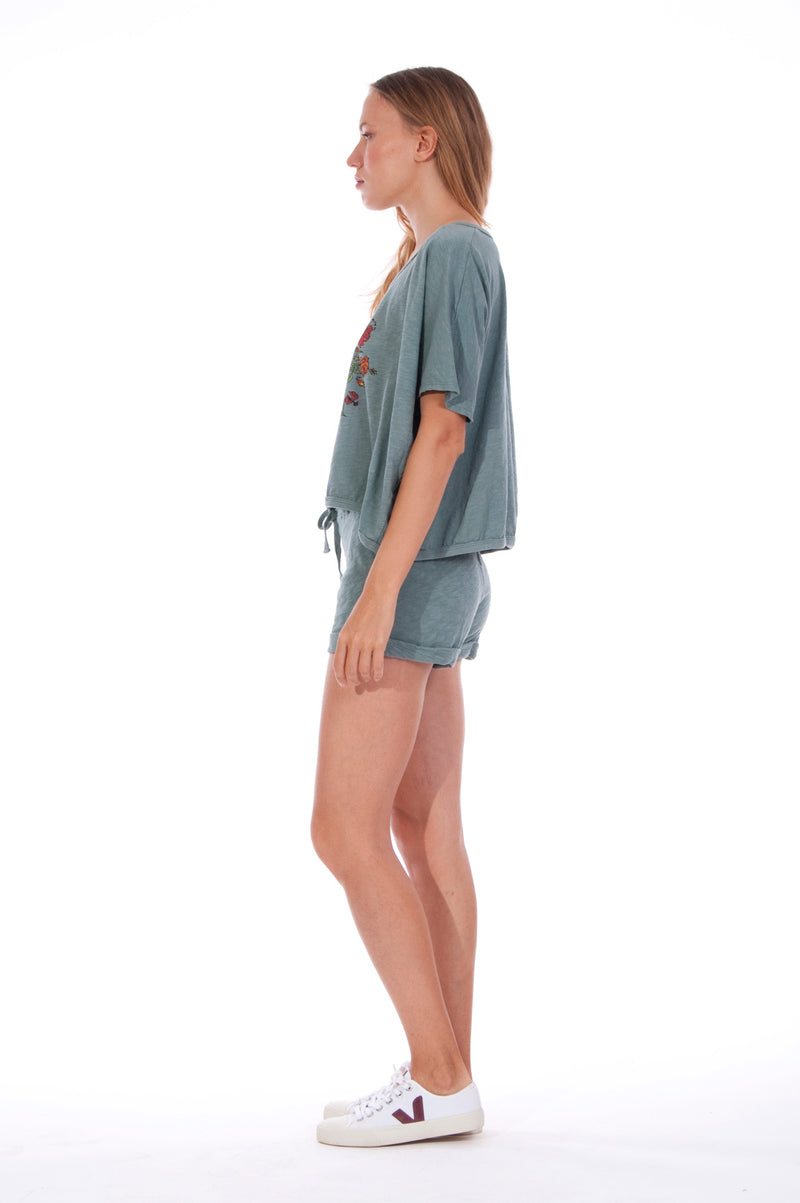 Natural Rebel - Round Neck - Wide - Loose Fit - Top - Colour Green and sunset mini shorts - Colour Green -3