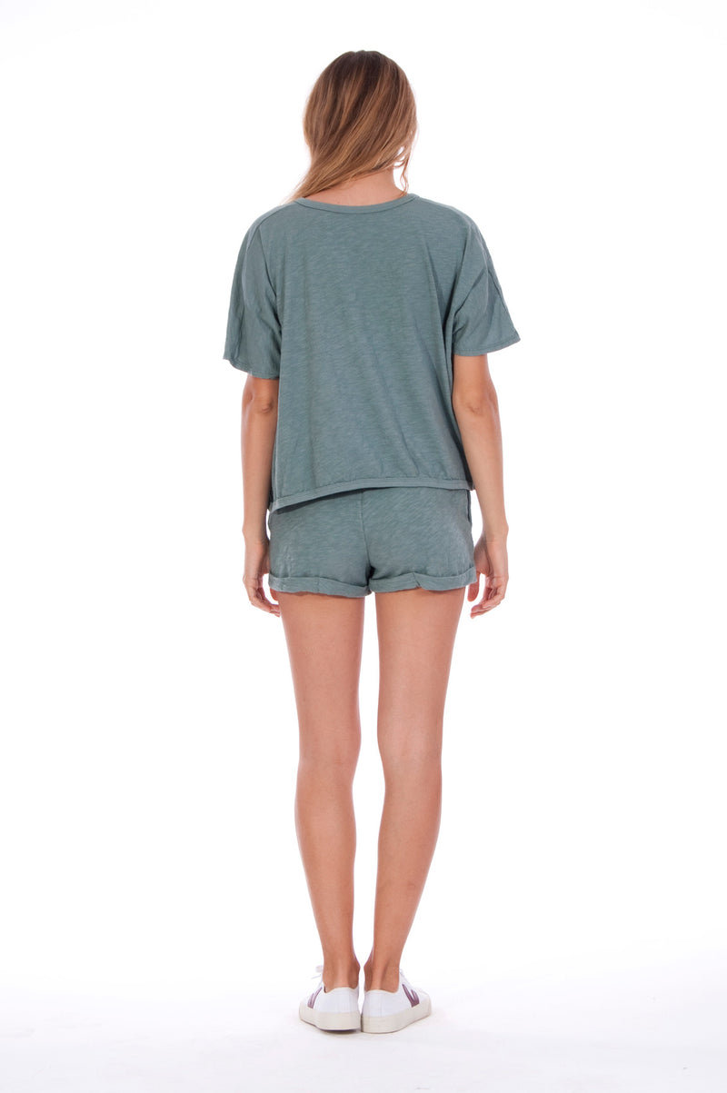 Natural Rebel - Round Neck - Wide - Loose Fit - Top - Colour Green and sunset mini shorts - Colour Green -4