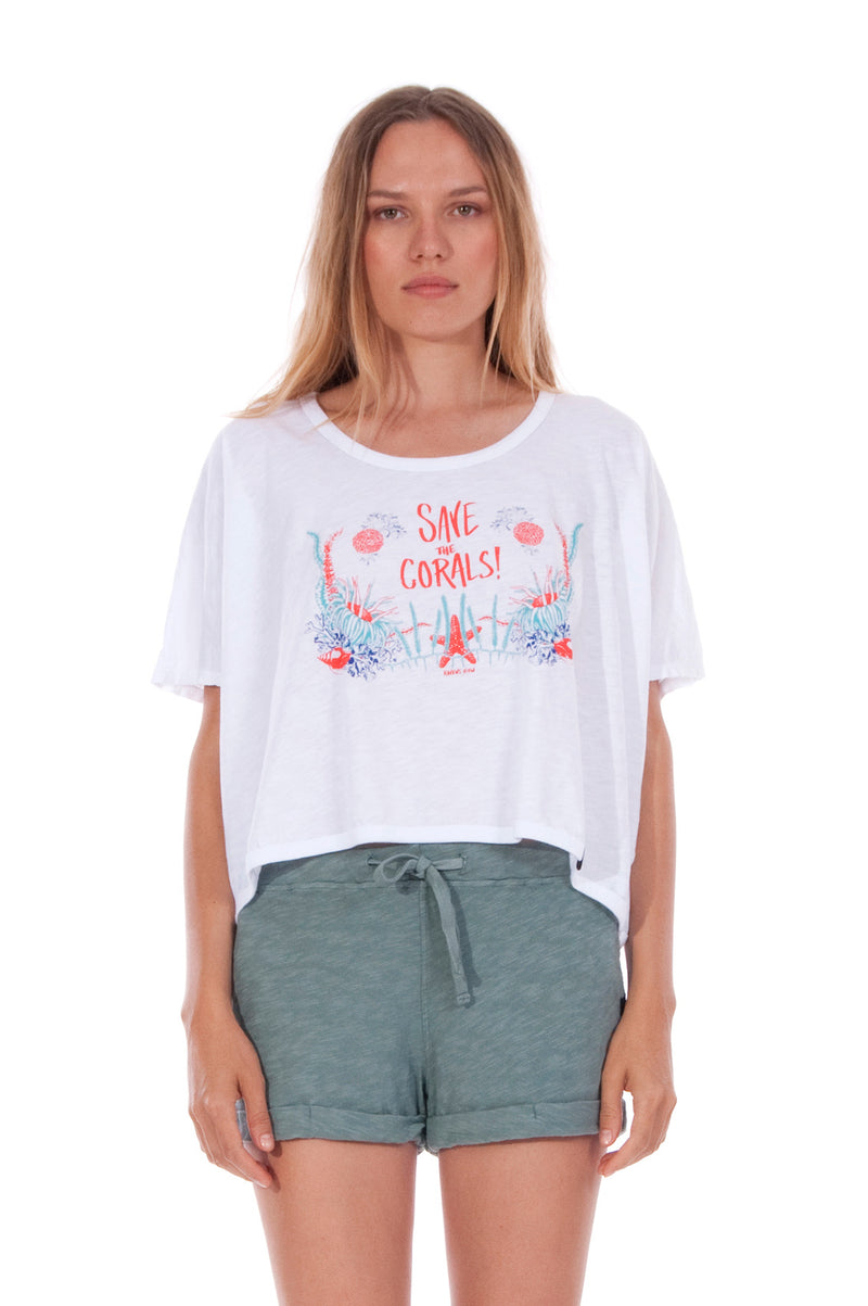 Save the corals - Round Neck - Wide - Loose Fit - Top - Colour White and sunset mini shorts - Colour Green -2