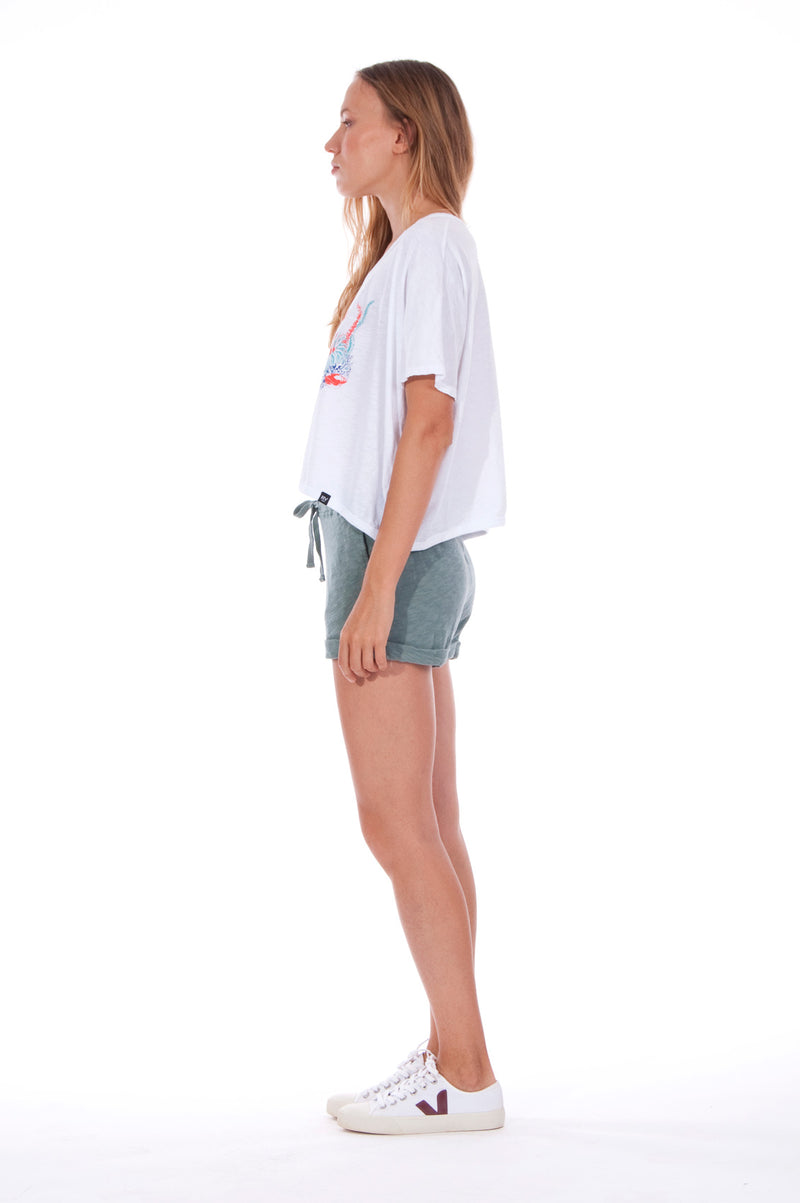 Save the corals - Round Neck - Wide - Loose Fit - Top - Colour White and sunset mini shorts - Colour Green -3