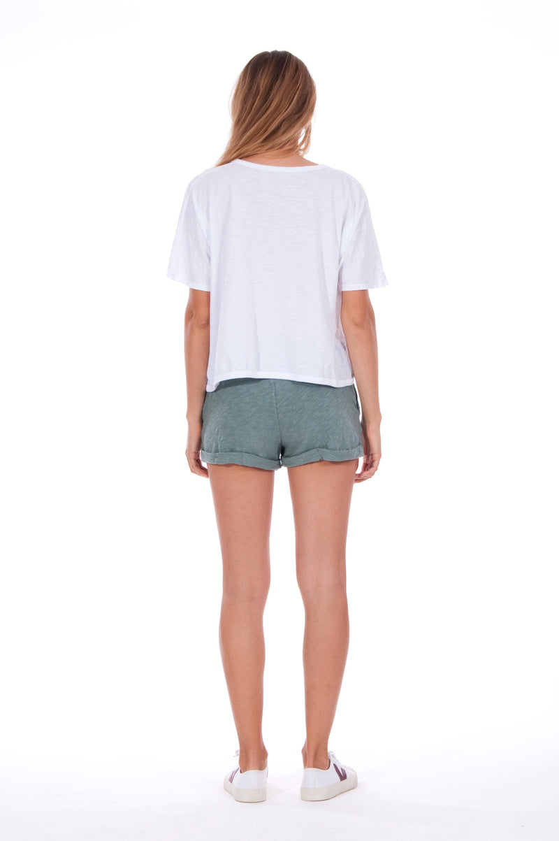 Save the corals - Round Neck - Wide - Loose Fit - Top - Colour White and sunset mini shorts - Colour Green -4
