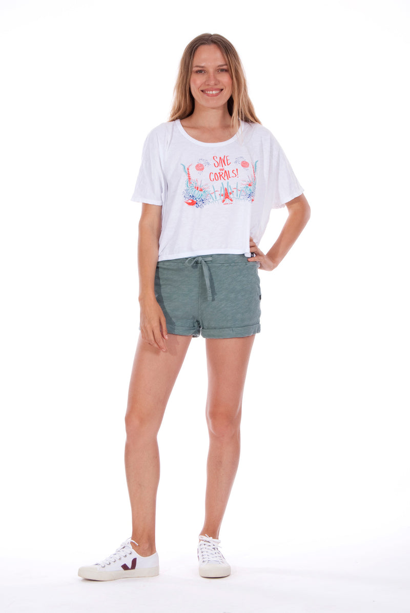 Save the corals - Round Neck - Wide - Loose Fit - Top - Colour White and sunset mini shorts - Colour Green -1