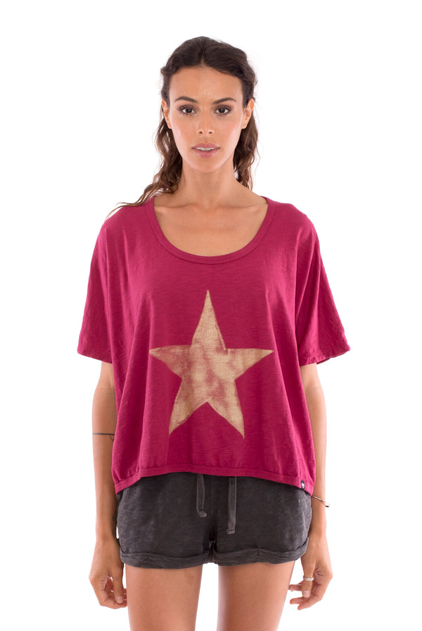 Star - Round Neck - Loose Fit - Top - Colour Garnet and sunset mini shorts - Colour Anthracite-2