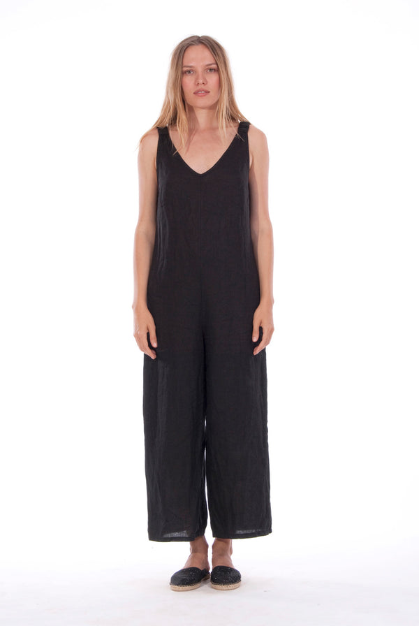 Menorca Mono - Linen- Wide Leg Jumpsuit - RV by Elisa F - Colour Black 1