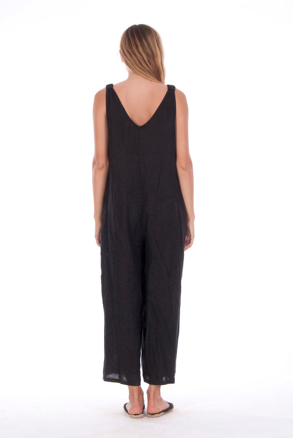 Menorca Mono - Linen- Wide Leg Jumpsuit - RV by Elisa F - Colour Black 2