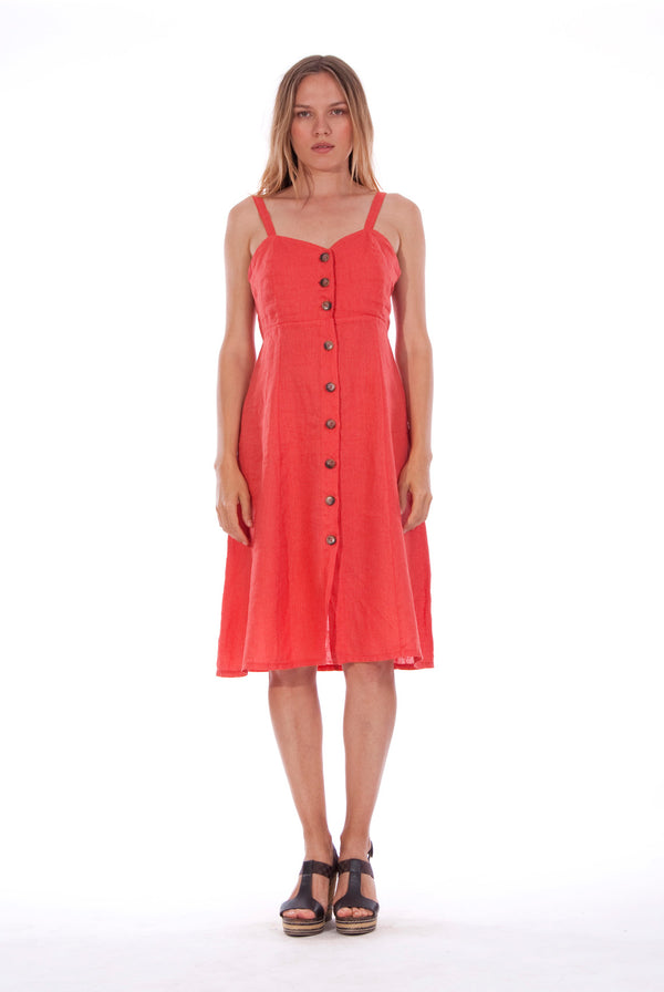 Capri - Linen - Midi Dress - RV by Elisa F - Colour Red 1