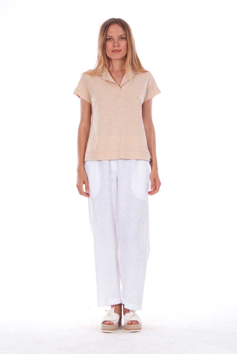 Malta - Linen Pants - RV by Elisa F - Colour White and Alexa Polo - Colour Sand 3