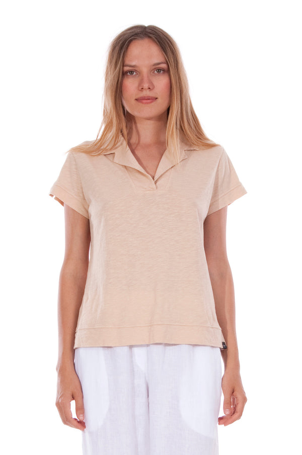 Alexa Polo - RV by Elisa F - Colour Sand and Malta Pants - Colour White 2