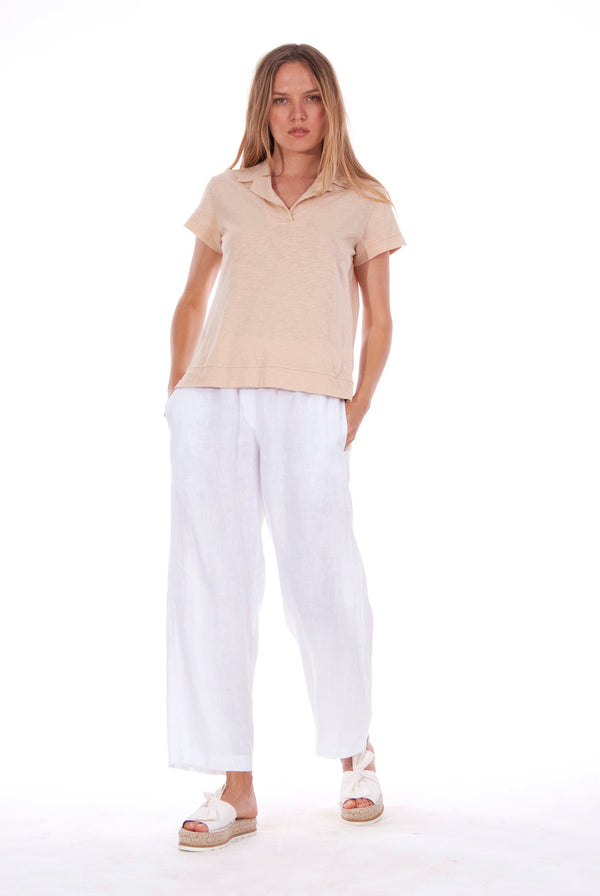 Malta - Linen Pants - RV by Elisa F - Colour White and Alexa Polo - Colour Sand