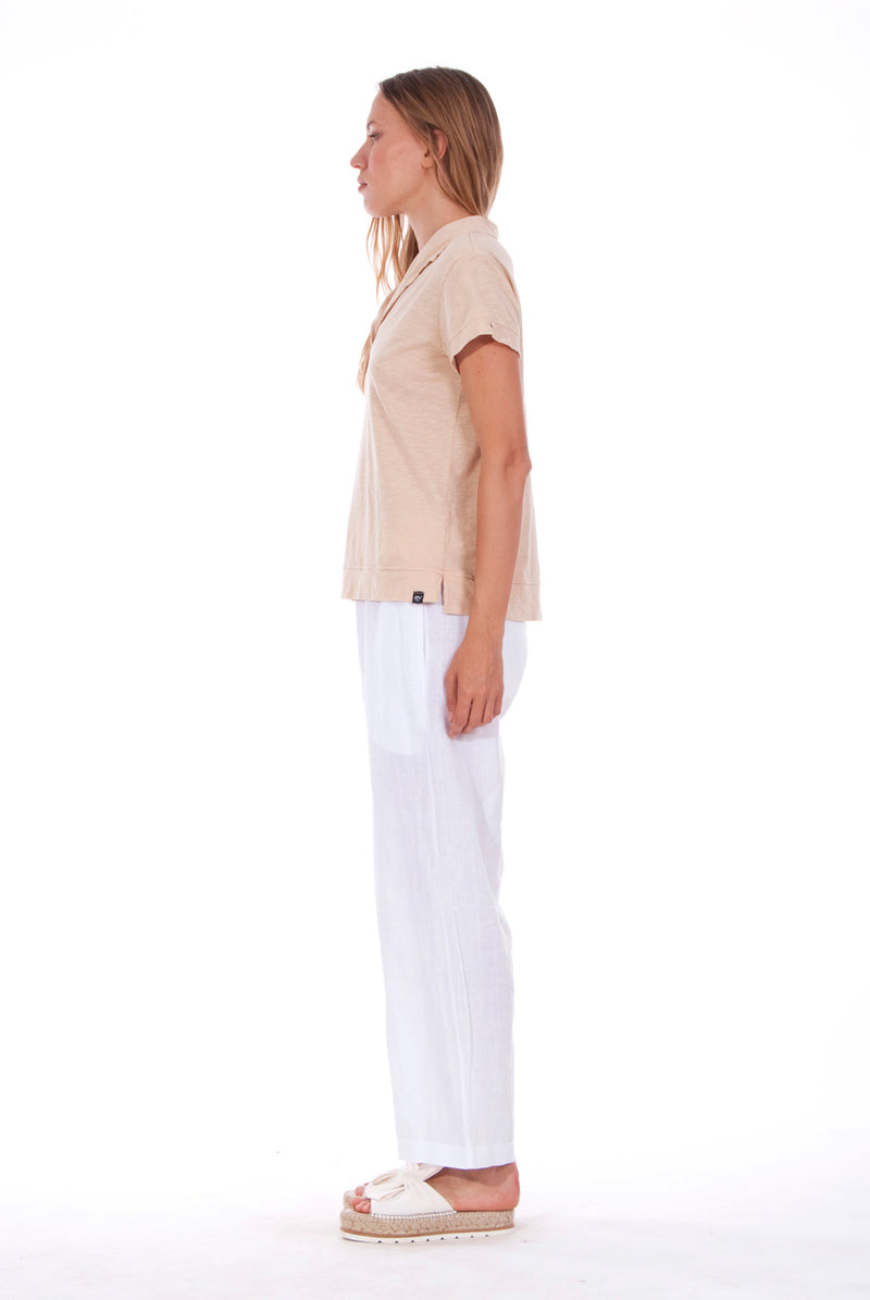 Malta - Linen Pants - RV by Elisa F - Colour White and Alexa Polo - Colour Sand 1