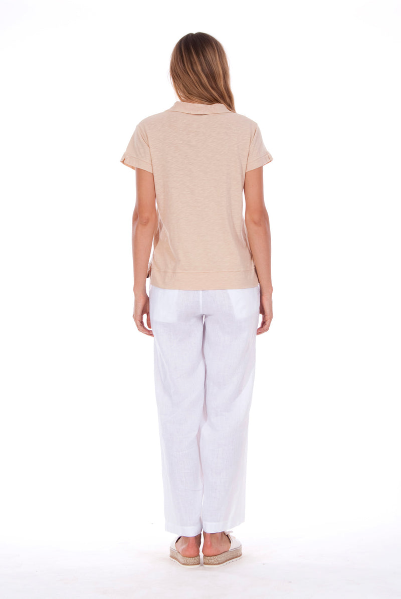 Malta - Linen Pants - RV by Elisa F - Colour White and Alexa Polo - Colour Sand 2