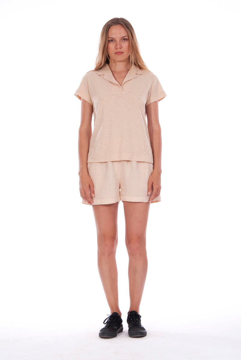 Alexa Polo - RV by Elisa F - Colour Sand and Malta Pants - Colour White 5