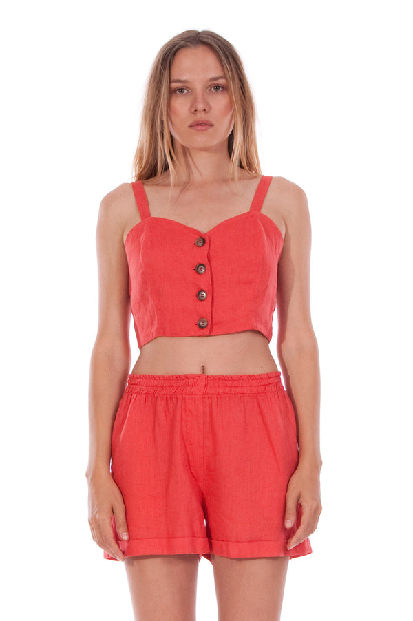 Capri - Linen Top - RV by Elisa F - Colour Red and Creta shorts - Colour Red 2
