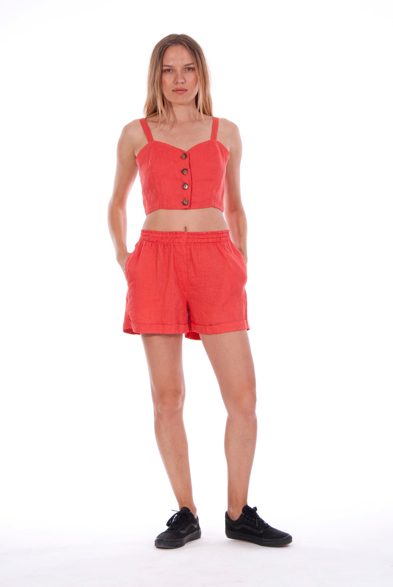 Capri - Linen Top - RV by Elisa F - Colour Red and Creta shorts - Colour Red 1