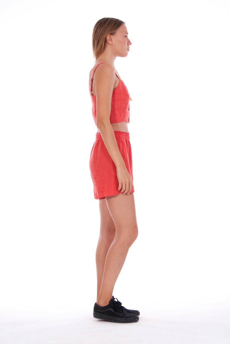 Creta - Linen Shorts - RV by Elisa F - Colour Red and Capri - Top - Colour Red