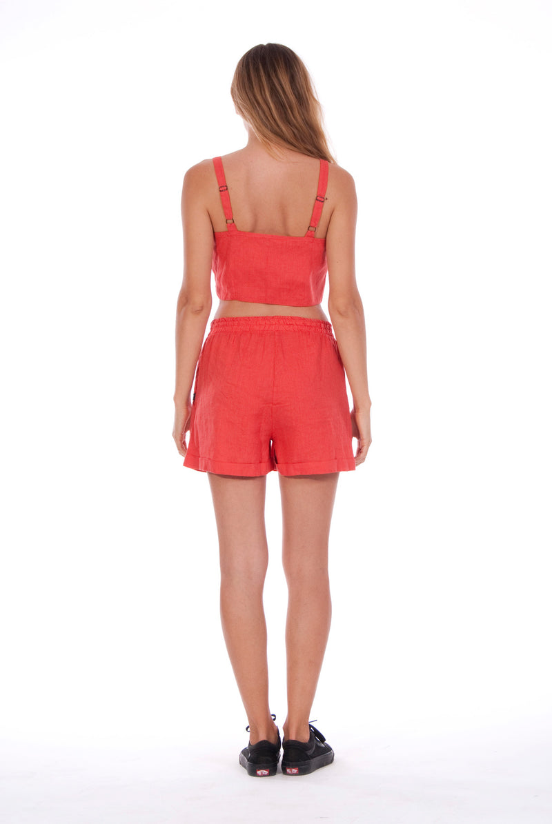 Capri - Linen Top - RV by Elisa F - Colour Red and Creta shorts - Colour Red 4