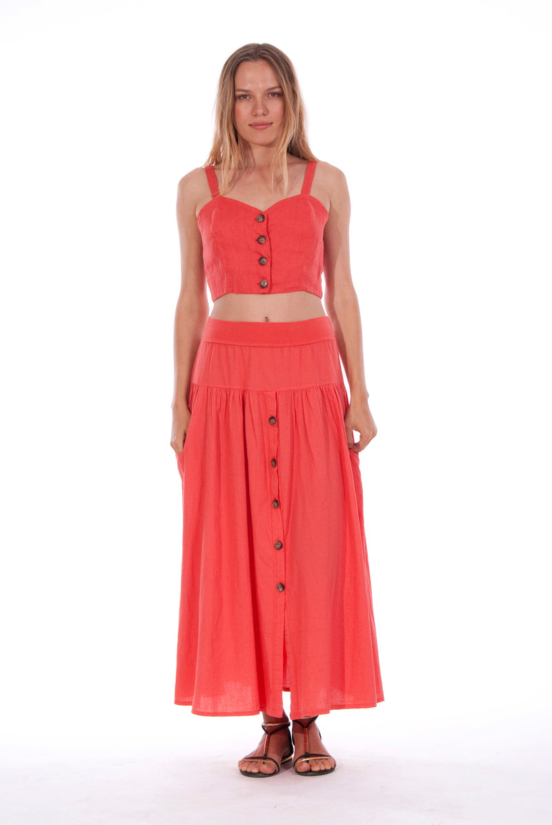 Athena - Long Skirt - RV by Elisa F - Colour Red and Capri - Top - Colour Red 1