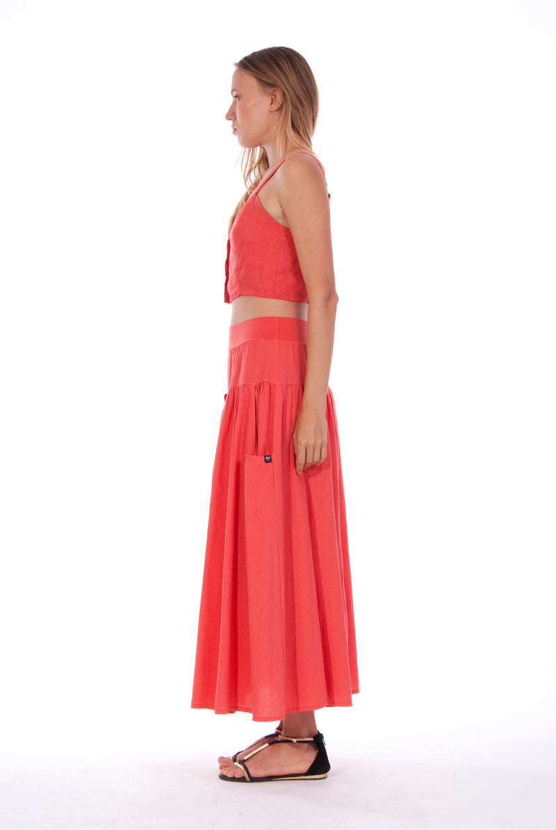 Athena - Long Skirt - RV by Elisa F - Colour Red and Capri - Top - Colour Red 2