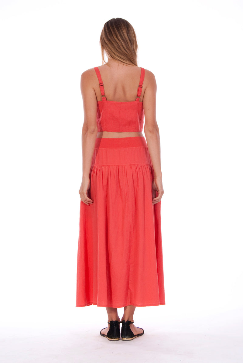 Athena - Long Skirt - RV by Elisa F - Colour Red and Capri - Top - Colour Red 3