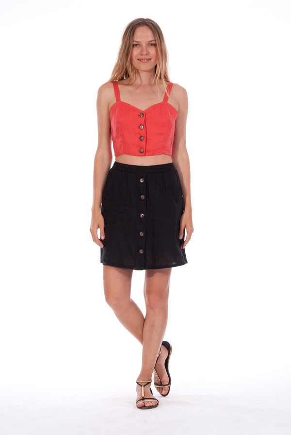 Cruise - Linen - Short Skirt - RV by Elisa F - Colour Black and Capri - Top - Colour Red
