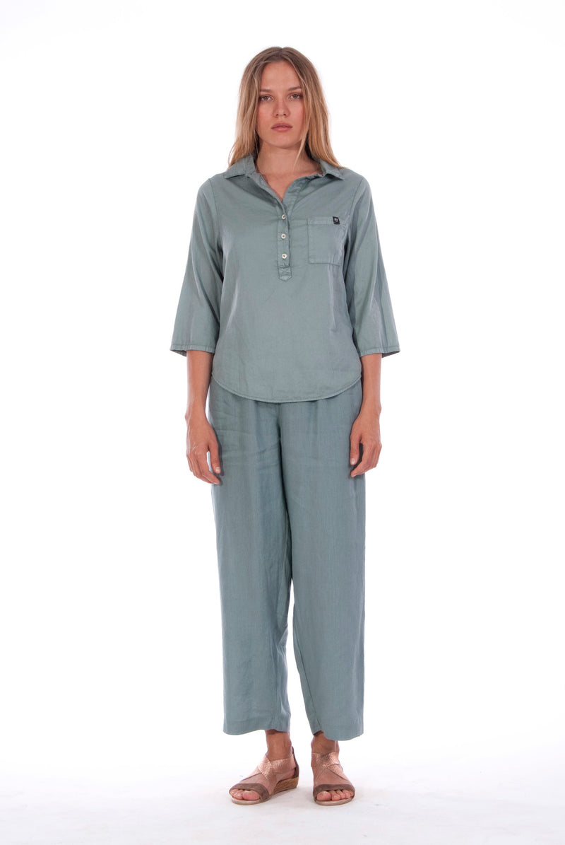 Malta - Linen Pants - RV by Elisa F - Colour Green and Ilona - Shirt - Colour Green 3