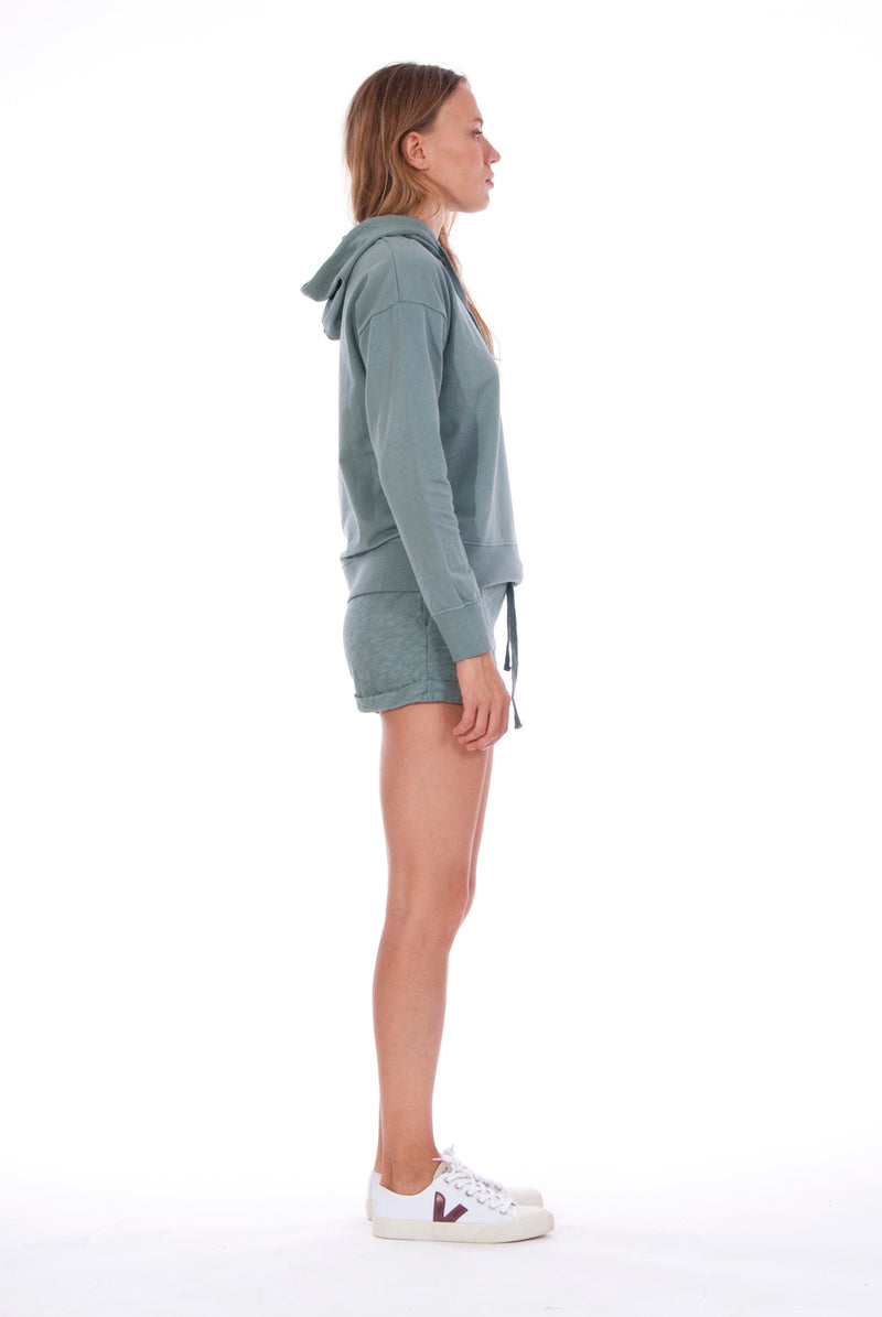 Vedra - Hoodie - Colour Green and Sunset Mini Shorts - Colour Green 3