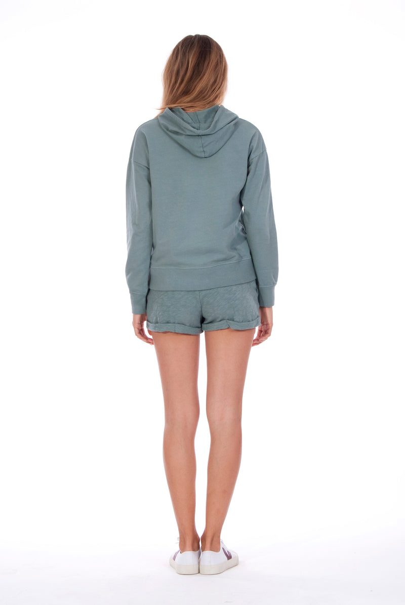 Vedra - Hoodie - Colour Green and Sunset Mini Shorts - Colour Green 4