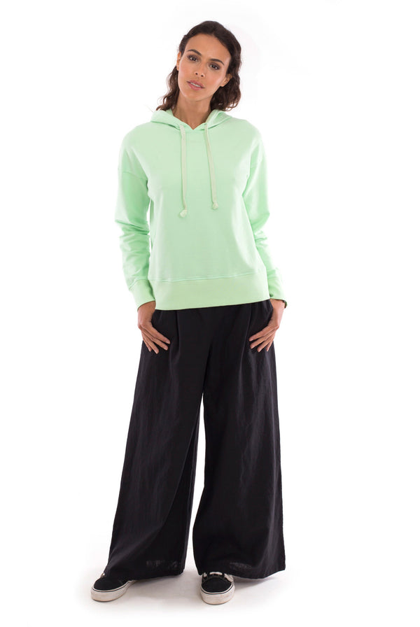 Eva - Wide Leg Pants - Colour Black and Vedra - Hoodie - Colour Mint - RV by Elisa F