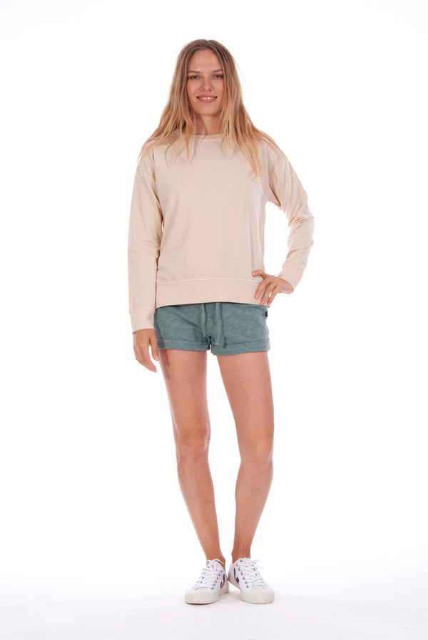 Mia - Sweatshirt - Colour Sand and Sunset Mini Shorts - Colour Green 1