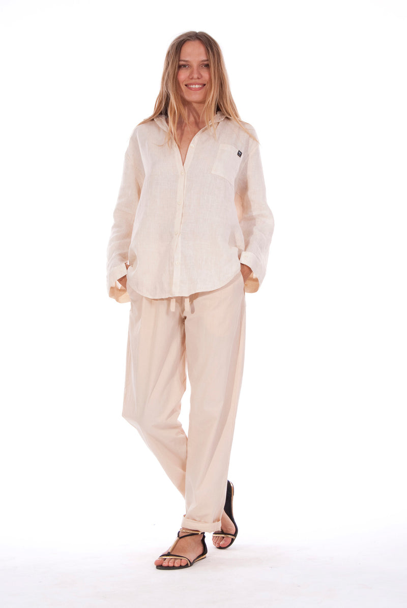 Santorini Pants - Colour Sand and Monet - Shirt - Colour Sand