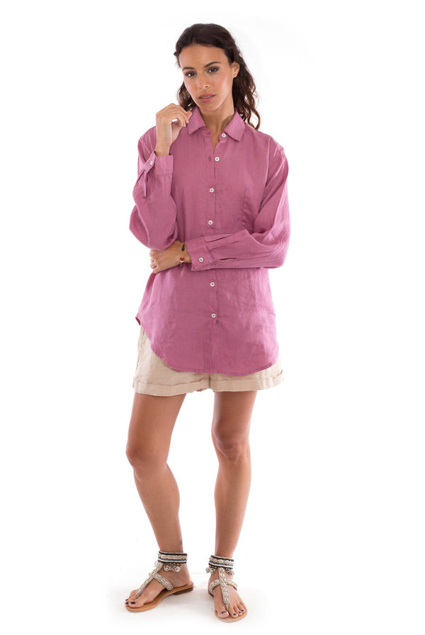 Creta - Linen Shorts - RV by Elisa F - Colour Sand and Monet - Shirt - Colour Violet